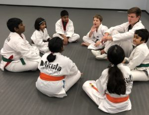 Students learn Korean terminology and Taekwondo Tenets during mat chat.