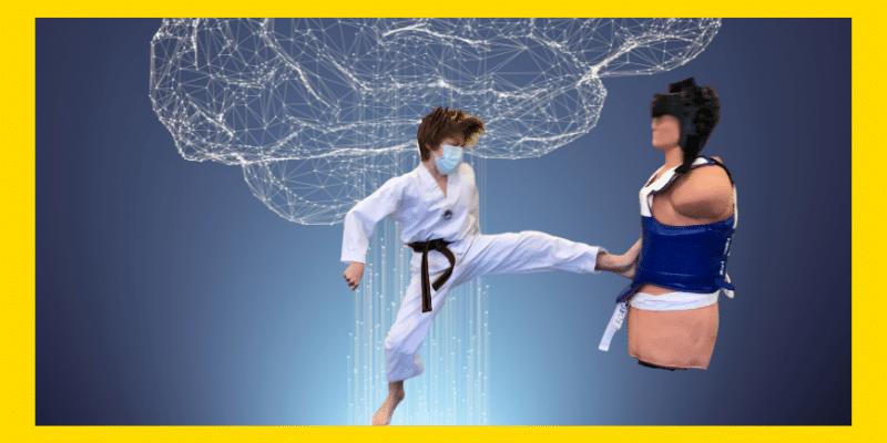 photo of boy in Taekwondo uniform kicking a Bob. Background is a glowing brain and brain stem.